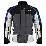 Jet Motorcycle Motorbike Jacket Mens Textile Waterproof Armoured Mid Length 3 Layer Multi Season GOODWOOD (L, Grey)