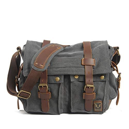 Canvas Leather Men Messenger Bags Big Satchel Shoulder Bags Male Laptop Briefcase Travel Handbag (Color : Dark Grey)