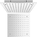 Hudson Reed Trenton Soffione Doccia Fisso - Design Quadrato ad Incasso da Soffitto - Acciaio Inox - Controsoffitto Doccia - 400 x 400mm