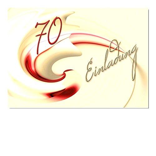 DigitalOase 10 Einladungskarten 70. Geburtstag MIT INNENTEXT Geburtstagskarten MENGE WÄHLBAR Klappkarten Kuverts Format DIN A6#MUSC (10)