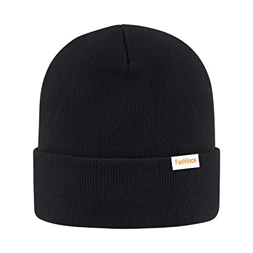 Beanie for Men Winter Thermal Cuffed Knit Hat Warm Gifts Womens Beanies Black