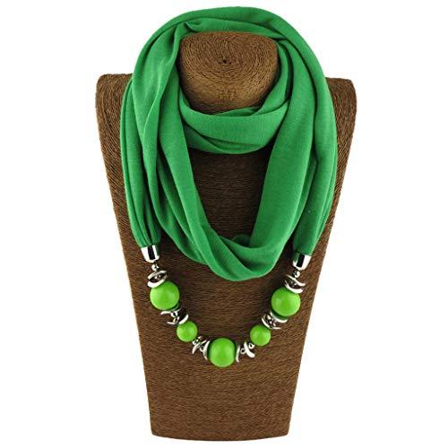 Cuigu Damen Schal Halsketten, Solid Color Schal Perlen Halstuch mit Schmuck (No.1)