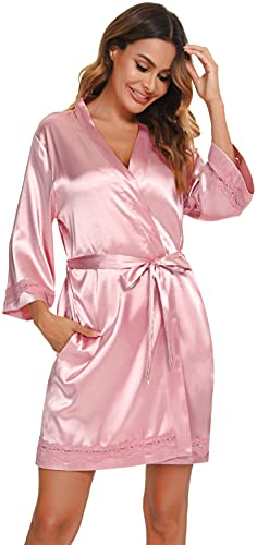 Vlazom Kimono Mujer Satén Suave Bata Seda Mujer,Albornoces para Muje de Dormir/Bata Mujer de Pijamas S-XXL ,Rosa,S