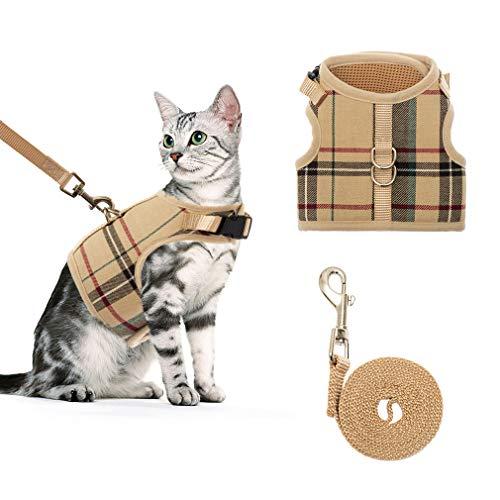 BINGPET Katzengeschirr und Leine zum Spazierengehen, verstellbar, ausbruchsicher, weiche Weste, Geschirre für mittelgroße Katzen