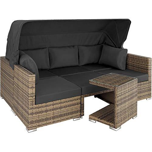 TecTake 800771 Aluminium Poly Rattan Lounge Set, 16-teilig, wetterfest, Garten Sofa mit Sonnendach, Outdoor Sitzgruppe inkl. Kissen und Beistelltisch - Diverse Farben - (Natur | Nr. 403713)