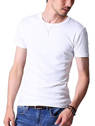 FTELA(フテラ) メンズ シャツ カットソー Tシャツ ロンTクルーネック 丸首 Vネック 長袖 7分袖 半袖 無地 シンプル スリム ホワイト(半袖/丸首) L