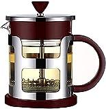 ZXYDD Cafetera de acero inoxidable con jarra de cristal, con filtro manual (color: plata, tamaño: 600 ml) (color: plata, tamaño: 1000 ml)