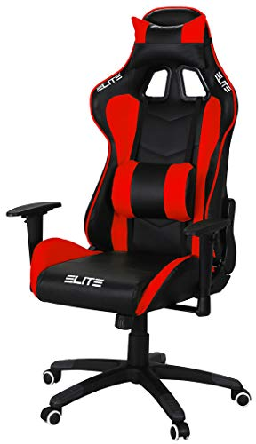 ELITE Racing Gaming Stuhl MG-200 - Bürostuhl – Kunstleder - Ergonomisch - Racer – Drehstuhl – Chair – Chefsessel – Schreibtischstuhl (Schwarz/Rot)