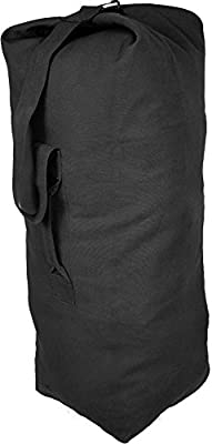 "Black Jumbo Top Load Canvas Military Duffle Bag (25"" x 42"")"