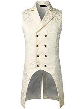 ZEROYAA Mens Gothic Steampunk Double Breasted Jacquard Brocade Vest Waistcoat Sleeveless Tailcoat ZLSV11 Cream Medium