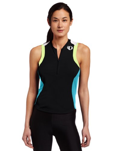 Pearl Izumi Women's Select Tri Sleeveless Jersey,Black/Scuba Blue,Small