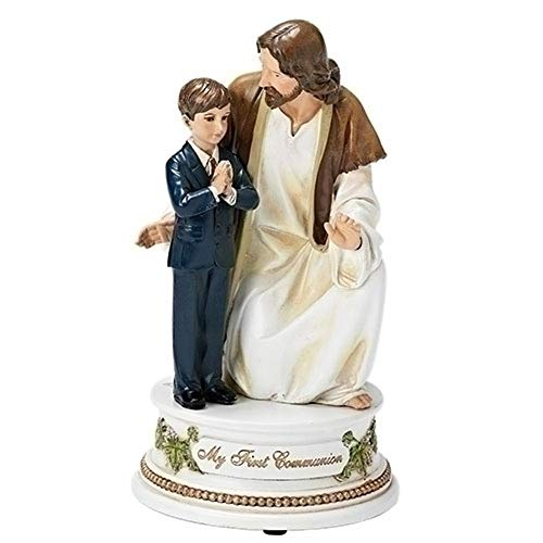 Young Boy with Jesus Musical Figurine