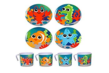 Kids Sea Life Dinner Set Fun Children s Dishes 4 Plates and 4 Mugs/Cup with Clown Fish Lobster Sea Horse Star Fish designs Children will love eating food on this dinnerware set.