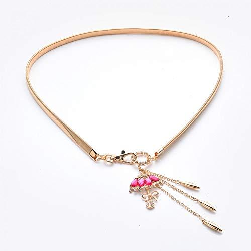 TMSHEN vrouwen elastische metalen ketting riem gesp dun elastische taille gouden jurk riem riem riem goud met sleutel Flora hanger kwast