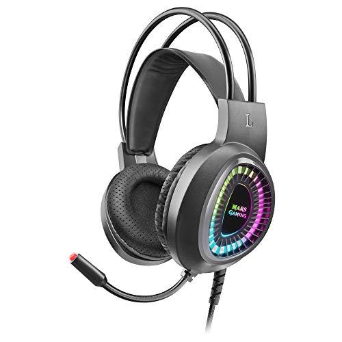 MARSGAMING MH220, Cascos Gaming ARGB SuperBass, Micrófono Flexible, Ultraligero, Negro