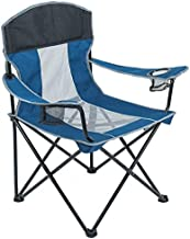 ARMOR CASTLE Portable Camping Chair for Adults Heavy Duty 400lbs Support Oversized Folding Chair Mesh Quad Arm Chair with Cup Holder Blue