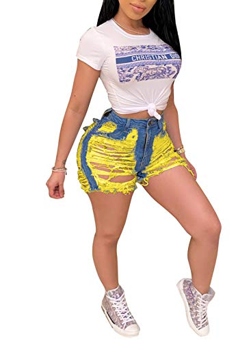 CORAFRITZ Mujeres Sexy Ripped Short Agregado Denim Shorts Skinny Hot Pants Pantalones de cintura alta Jean Shorts Night Club Wear