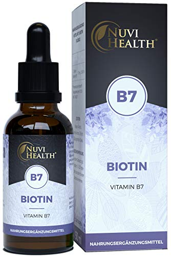 Nuvi Health® Biotin Flüssig - 10 mg - 50 ml = 1240 Tropfen - D-Biotin (Vitamin B7) für Haut & Haare - Höchste Bioverfügbarkeit - Laborgeprüft - Vegan - Vanille Geschmack - Hochdosiert