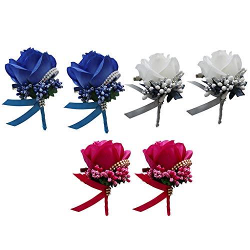 B Baosity 6 Pack Bridal Beads Wrist Corsage Wedding Reception Bridal Hand Flower DIY Royal