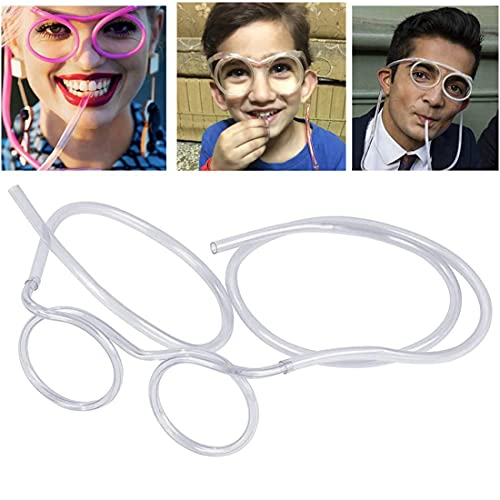 QNCIGER Straw Glasses , Funny Flexible Drink Purses Straw, Crazy Eyeglass Frame Bar Accessories for Birthdays, Bridal Showers, Party Supplies, Favors, Game Ideas(Crystal)