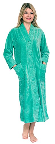 Bath & Robes Women's Chenille Robe Button Front Small Green