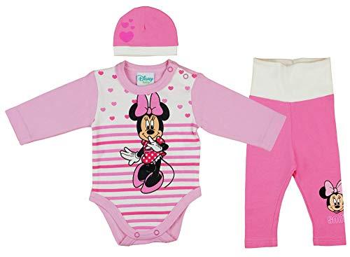 Disney Baby Mädchen Set Outfit 3-teiler mit Minnie Mouse in Gr. 56 62 68 74 80 86 Baumwolle süß für 6-12 12-18 18-24 Monate 1 Jahr Body Mütze Hose Farbe Modell 2, Größe 62