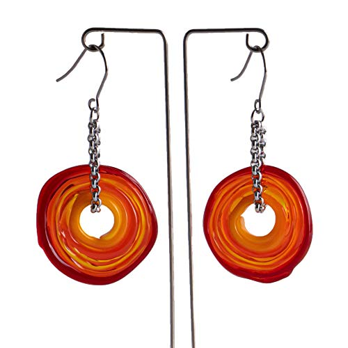 Pendientes de cristal de murano en tonos rojos  Cadena y colgante de...