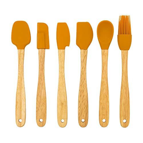 Chef Select Mini Tool Set, Set of 6, Includes Spoon, Spoonula, Basting Brush, 3 Spatulas, Copper-Colored Silicone Heads, Wood Handle -  Triace USA, 1B6955YB