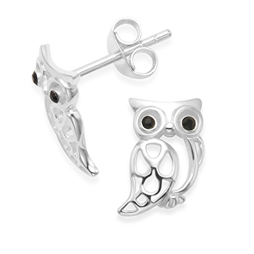 Sterling Silver Owl Earrings with black Cubic Zirconia eyes - SIZE: 10mm. Gift Boxed Owl studs. 5239/HNbox