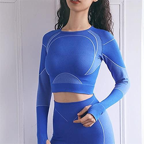 qqff Trainingsanzug Laufbekleidung,Damen Yoga Bekleidungsset,Gymnastik Fitness Sportswear-Blue,L,Gym Gerippt Sport