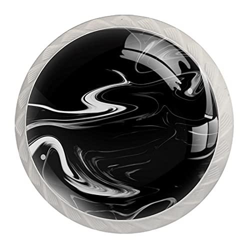 Juego de 4 tiradores y tiradores para armarios de cocina (1,38 x 1,10 pulgadas), color negro