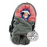 MUNIMU Baby Winter Einschlagdecke Minky - für alle gängigen Babyschalen, Autositze, Kinderwagen, Buggy und Babytrage - wattiertes Polarfleece mit kuscheliger Minky Innenseite - Made in EU
