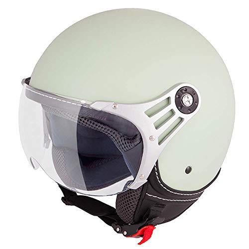 Vinz Stelvio Jethelm Roller Helm Fashionhelm   In Gr. XS-M   Jet Helm Uni Colour   ECE Zertifiziert   Motorradhelm mit Visier   Minze Grün