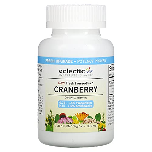 Eclectic Institute Raw Fresh Freeze-Dried Cranberry, 120 Non-GMO 300...