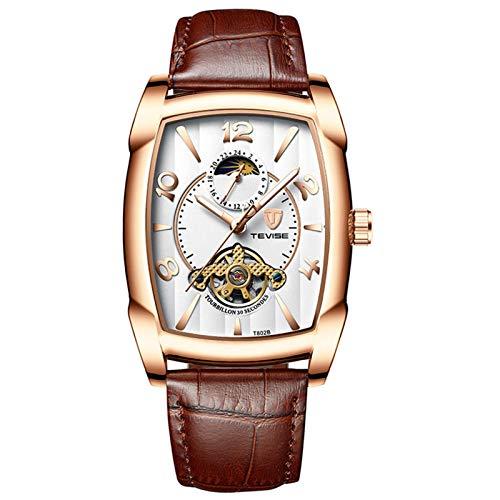 ZBHWYD Reloj mecánico de Correa de Cuero, Reloj automático, Reloj mecánico automático de Acero Inoxidable para Hombres, Correa de Cuero cómoda (Hombre y Mujer),Marrón