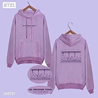 BTS BT21 KPOP Pullover Sweatshirts Teenager Hip Hop Loose Hoodies Mens Women Sweatshirts Lovers Hoodies Tops Clothing
