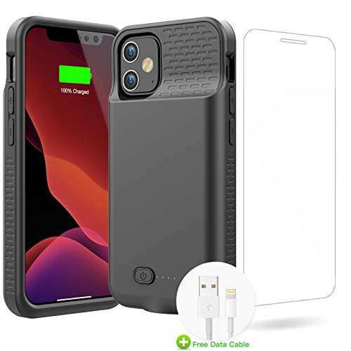 GIN FOXI Battery Case for iPhone 12/12Pro, Real 7000mAh Ultra-Slim Battery Charging Case Rechargeable Anti-Fall Protection Extended Charger Cover for iPhone 12Pro/12 Battery Case(6.1 inch)