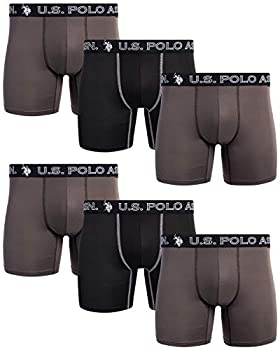 U.S Polo Assn Mens' Quick Dry Performance Boxer Briefs  6 Pack   Charcoal/Black/Charcoal Large
