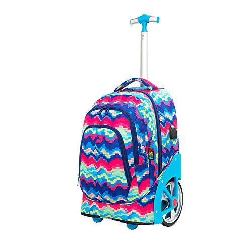 Rugzak met wielen - Reistas Duurzame Rolling Daypack Schooltas met grote capaciteit Stijlvolle Dagtas voor basisstudenten (2 wielen)