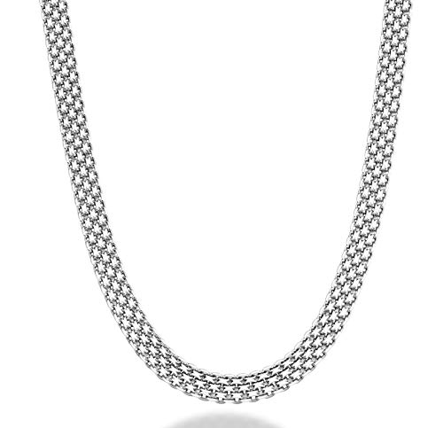 Miabella 925 Sterling Silver Italian 6mm Solid Bismark Mesh Link Chain Necklace for Women 18, 20 Inch Made in Italy