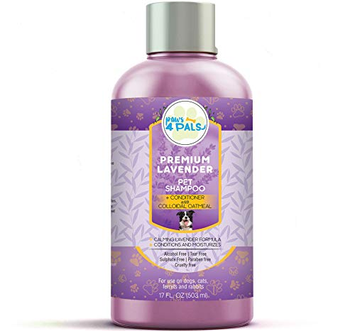 Paws4Pals All Natural Organic Pet Lavender Oatmeal Shampoo + Conditioner [17oz] For Dogs & Cats-Clinical Formula For Dry Sensitive Skin-Hypoallergenic & Soap Free