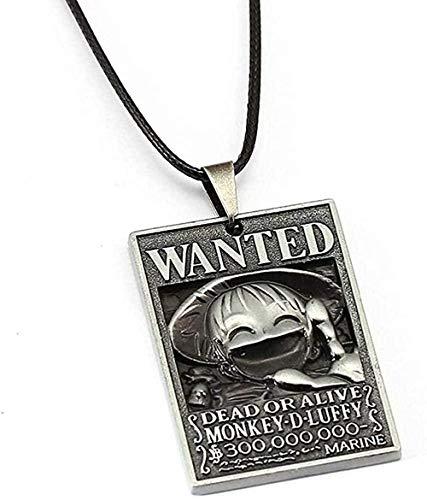 BEISUOSIBYW Co.,Ltd Collar de Moda Anime Collar 8 Estilo Luffy Ace quería Cartel Colgante Amistad Regalo Accesorios de joyería