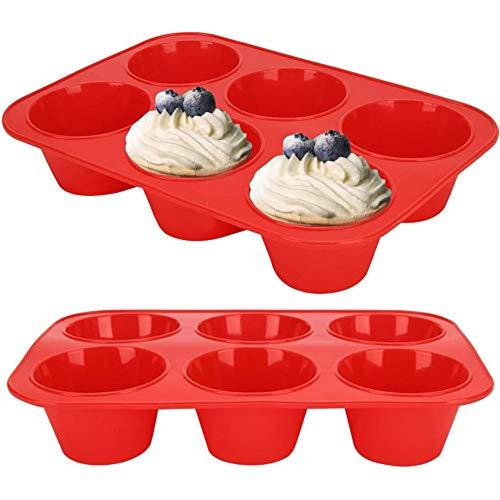 BAIBEI Grande Stampo per Muffin in Silicone, 6 Tazze Grande Stampo per Muffin in Silicone, Stampo Gigante Antiaderente, Stampo in Silicone, teglia, Pane, Torta, 27,8 x 19 x 5 cm