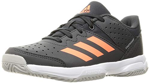 adidas Unisex-Child Court Stabil Handball Shoe, Grey/Signal Coral/Grey, 36 2/3 EU