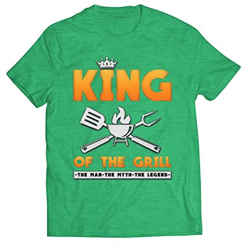lepni.me Camisetas Hombre El Rey de la Parrilla Maestro de la Barbacoa Chef El Hombre El Mito La Leyenda (M Brezo Verde Multicolor)