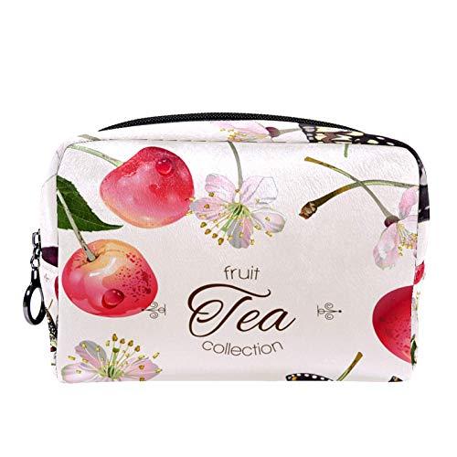 Neceser de Maquillaje Estuche Escolar para Cosméticos Bolsa de Aseo Grande Flor De Cerezo Mariposa Fruta Rosa Dulce