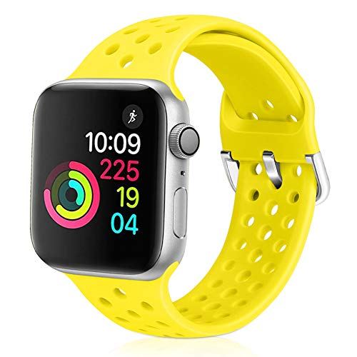 Vodtian - Cinturino Sportivo per Apple Watch, 38 mm, 40 mm, 42 mm, 44 mm, Morbido Silicone Traspirante, Compatibile con iWatch Serie 5/4/3/2/1 per Donne e Uomini, Giallo Brillante, 42mm/44mm