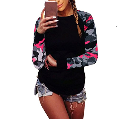 Women Blouse,Haoricu Fall Women Long Sleeve Shirt Casual Blouse Tops T Shirt (XL, Hot pink)