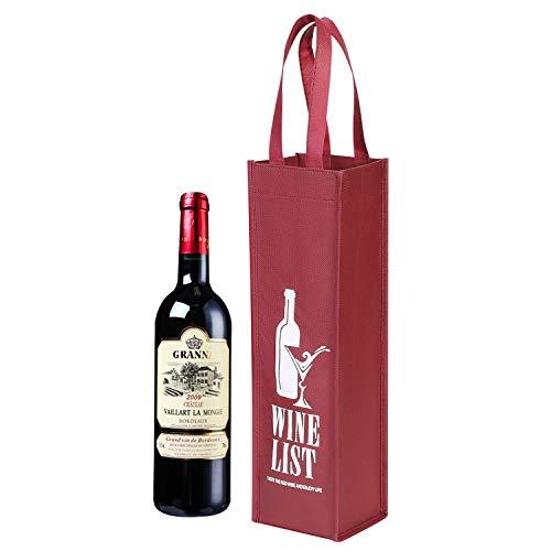 Geschenktasche 10 Stück Weintüte für Einzelne Flasche Tragbarerer Weinbeutel Recycelbare Flaschentüte Wein Sekt Champagner Verpackung Tragetasche Vliesstoffe Geschenktüte für Hochzeit Party Festival