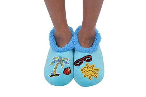 Snoozies Womens Cozy Groovy Applique Patches Non Skid Slipper Socks, Large, Aqua